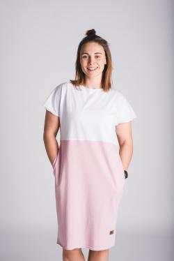 Šaty 2v1 - růžová/bílá