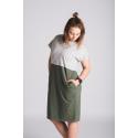 Šaty 2v1 - khaki/proužky